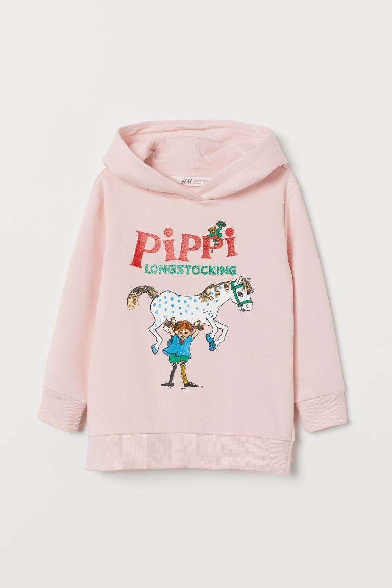 Printed Hoodie - Pink/Pippi Longstocking - Kids | H&M US