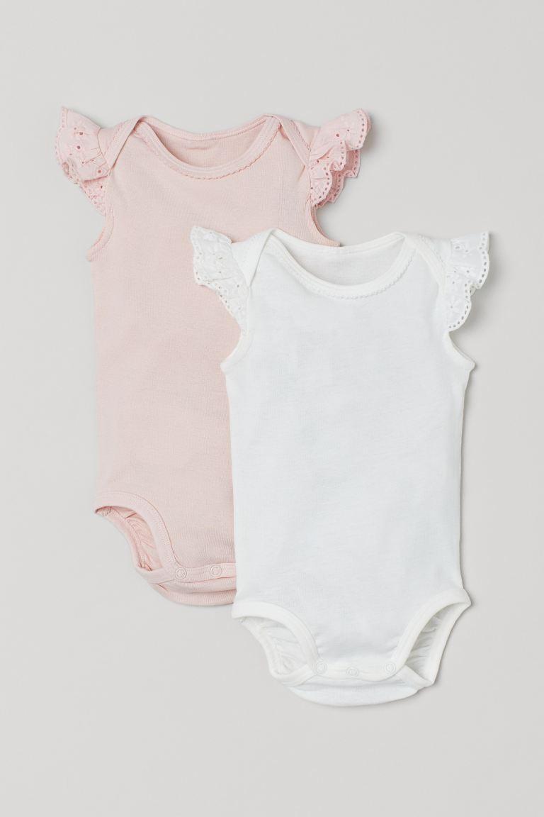 Lot de 2 bodies à bords picot - Rose clair/blanc - ENFANT   H&M FR