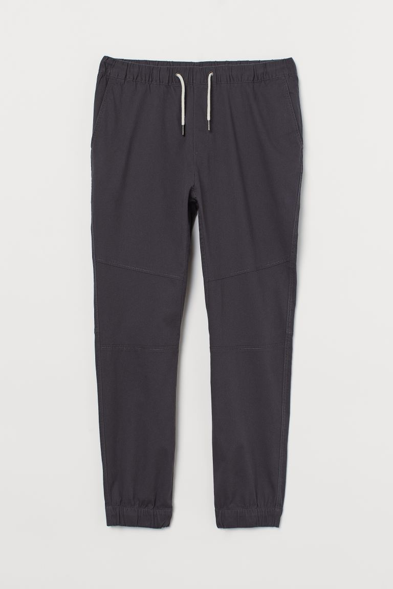 Cotton twill joggers - Anthracite grey - Men | H&M GB