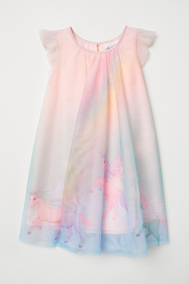Glittery Tulle Dress - Light pink/unicorns - Kids | H&M US