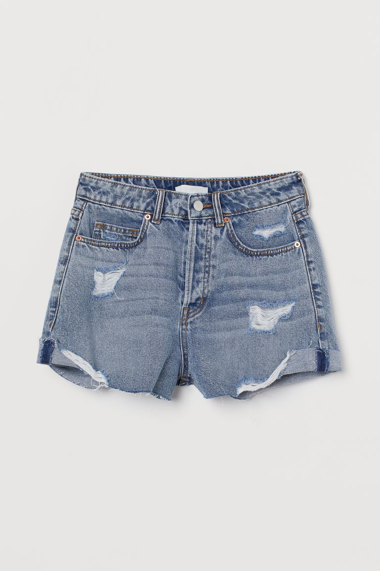 Denim shorts - Light denim blue/Trashed - Ladies | H&M