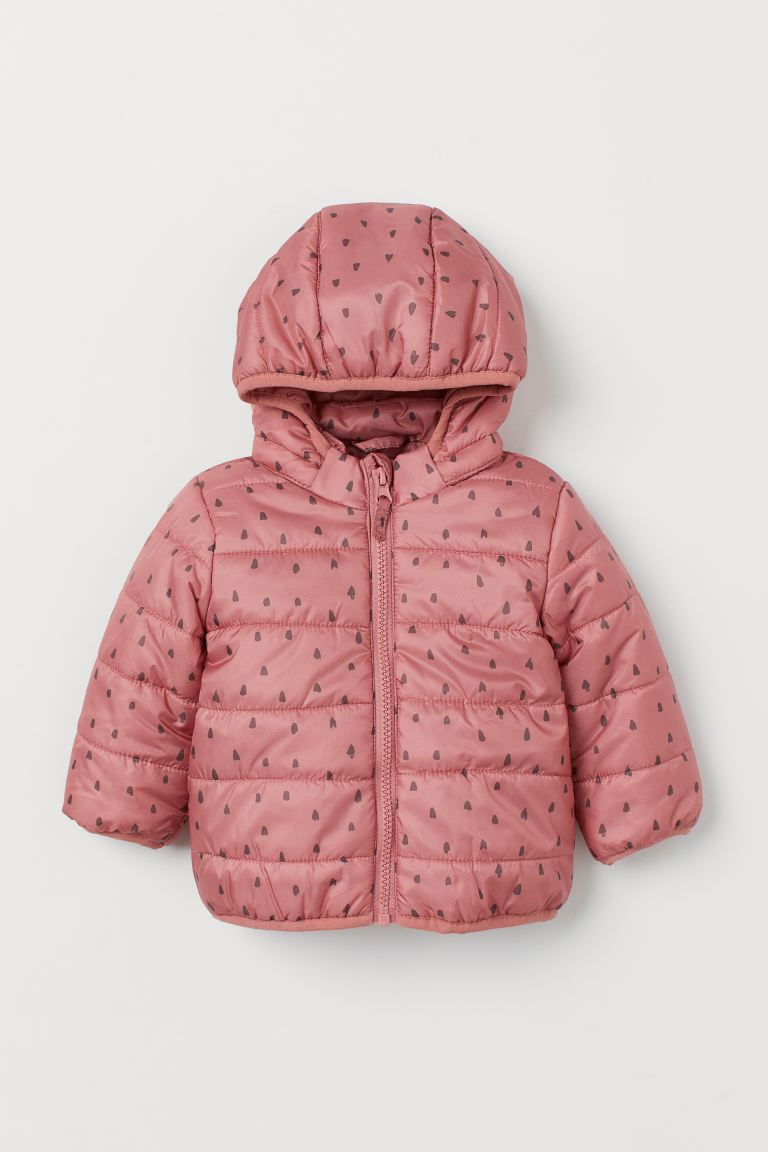 Hooded Puffer Jacket - Dusty rose/patterned - Kids | H&M US
