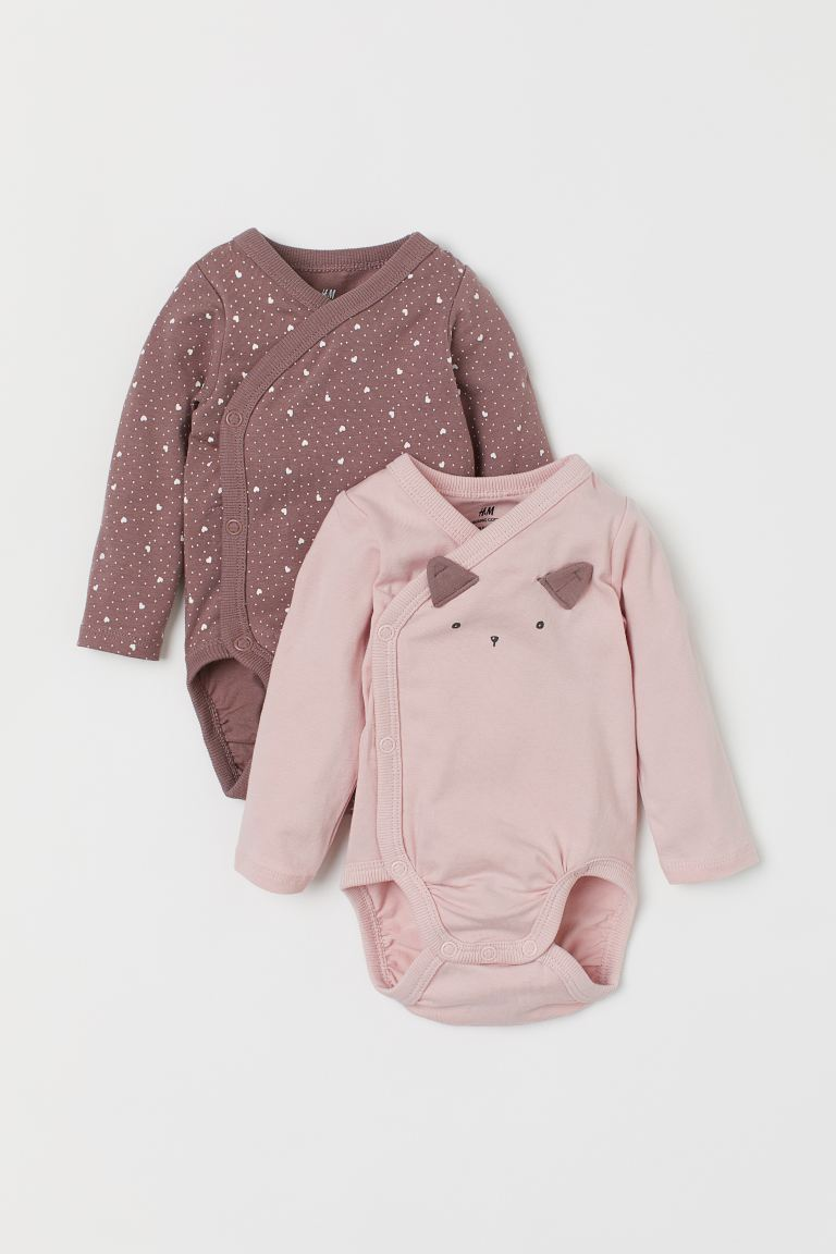 2-pack long-sleeved bodysuits - Light pink/Cat - Kids | H&M