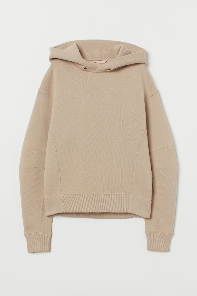 Cotton hooded top - Beige - Ladies | H&M GB