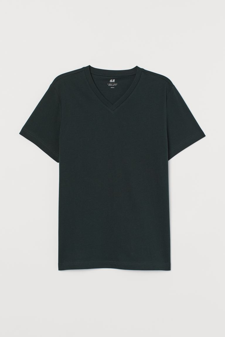 Regular Fit V Neck T Shirt Dark Green Men H M Ca