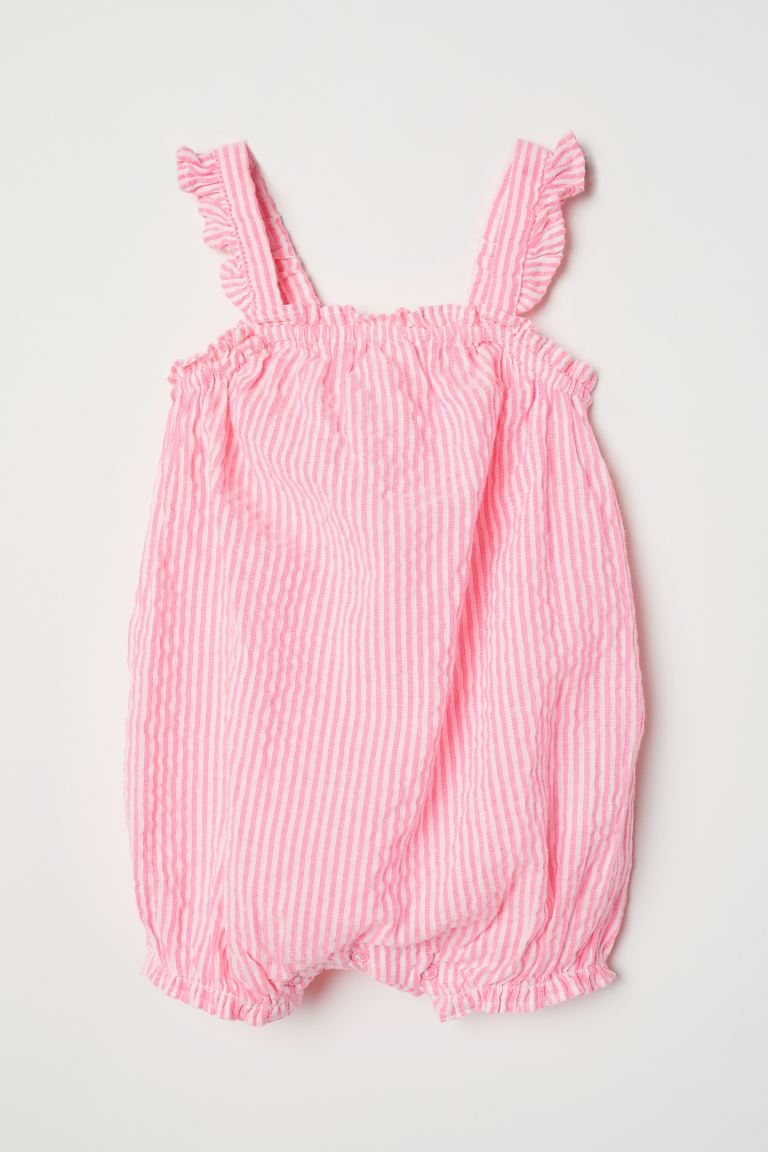 Sleeveless romper suit - Neon pink/Striped - Kids | H&M GB