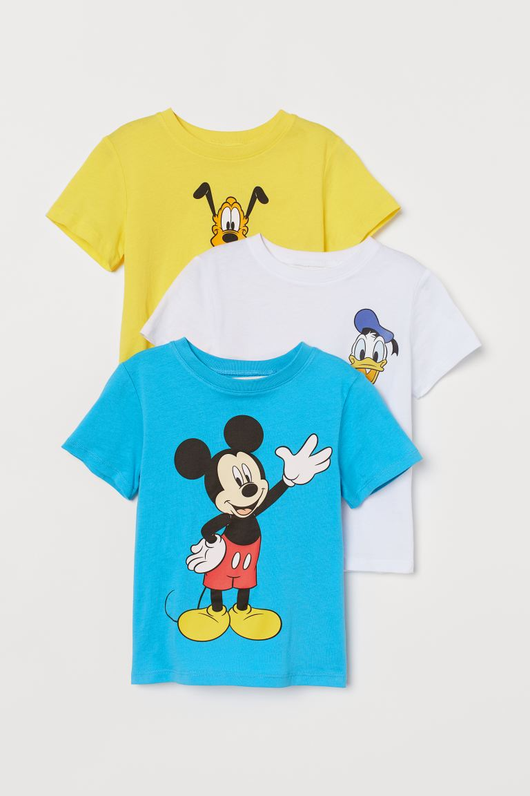 3-pack printed T-shirts - Turquoise/Mickey Mouse - Kids | H&M GB