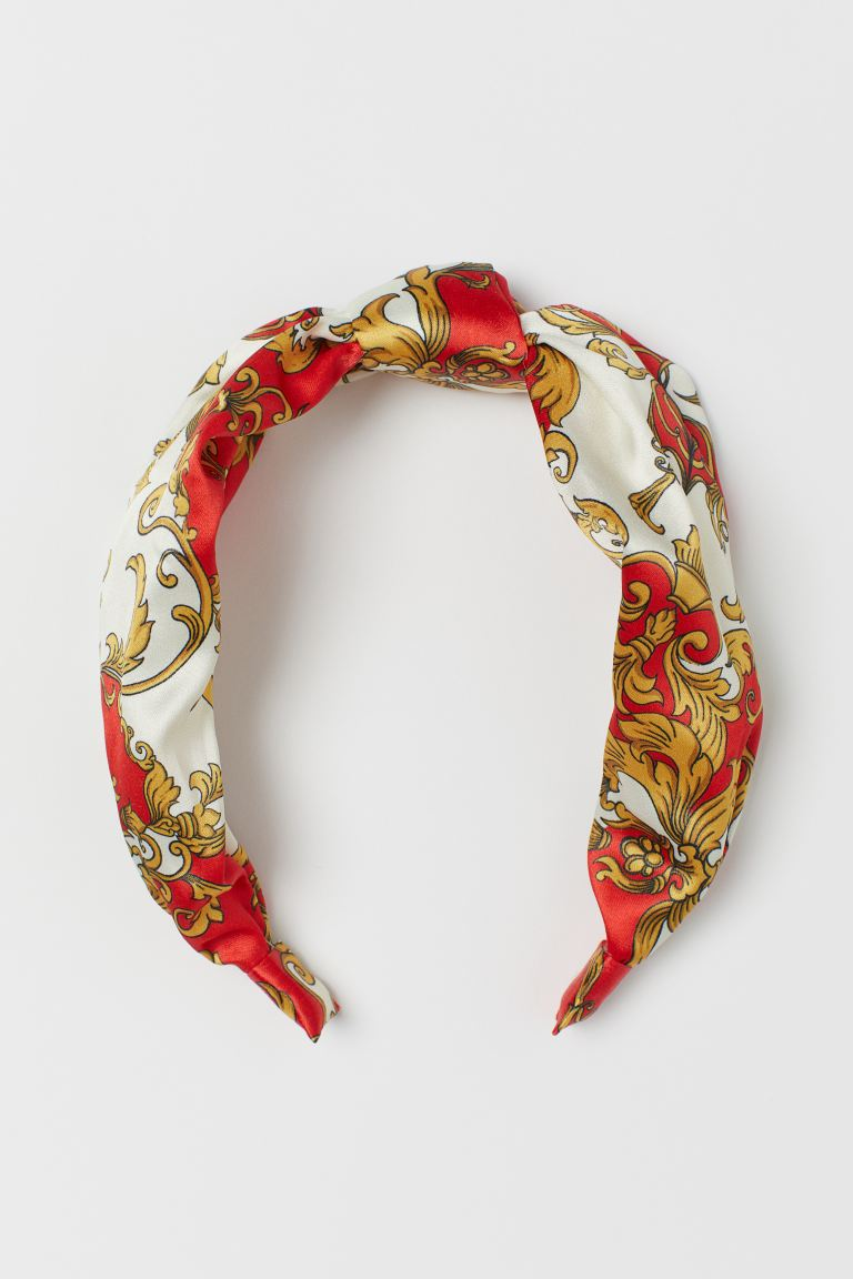 Hairband with Knot - Red/patterned - Ladies | H&M US