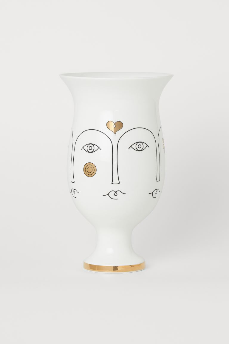 Tall Porcelain Vase - White/gold-colored - Home All | H&M US