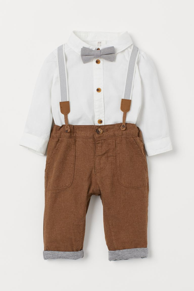 2-piece cotton set - Brown/White - Kids | H&M GB