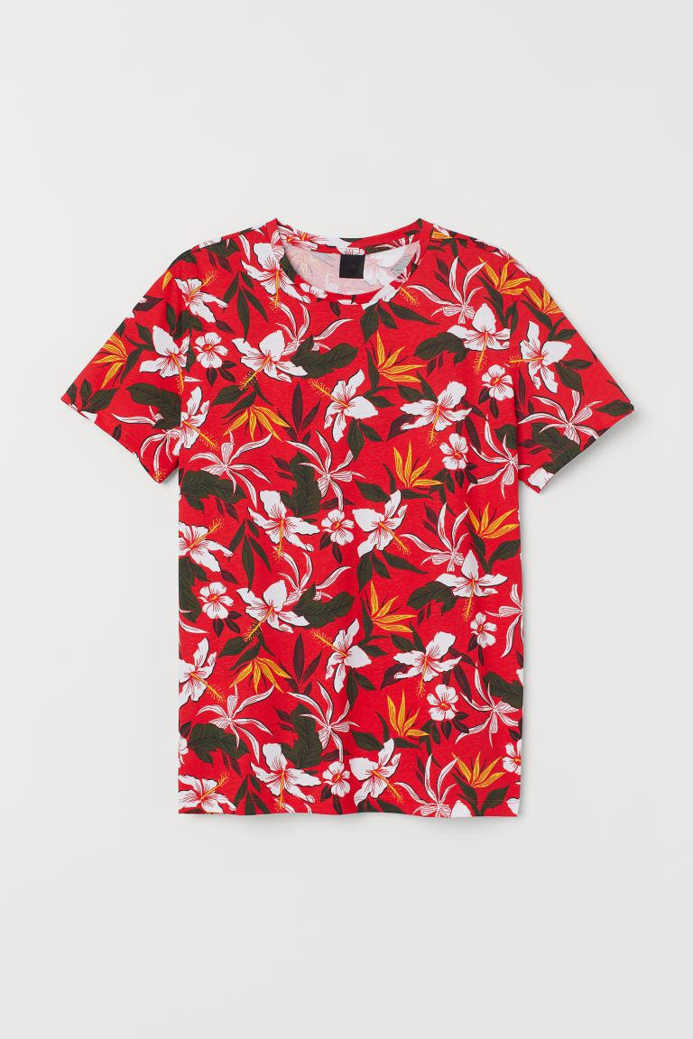Cotton T-shirt - Red/Floral - Men | H&M IN