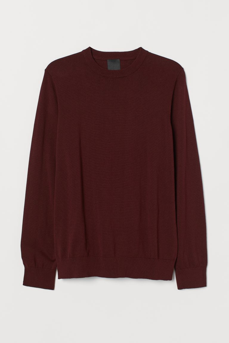 Fine-knit jumper - Burgundy - Men | H&M