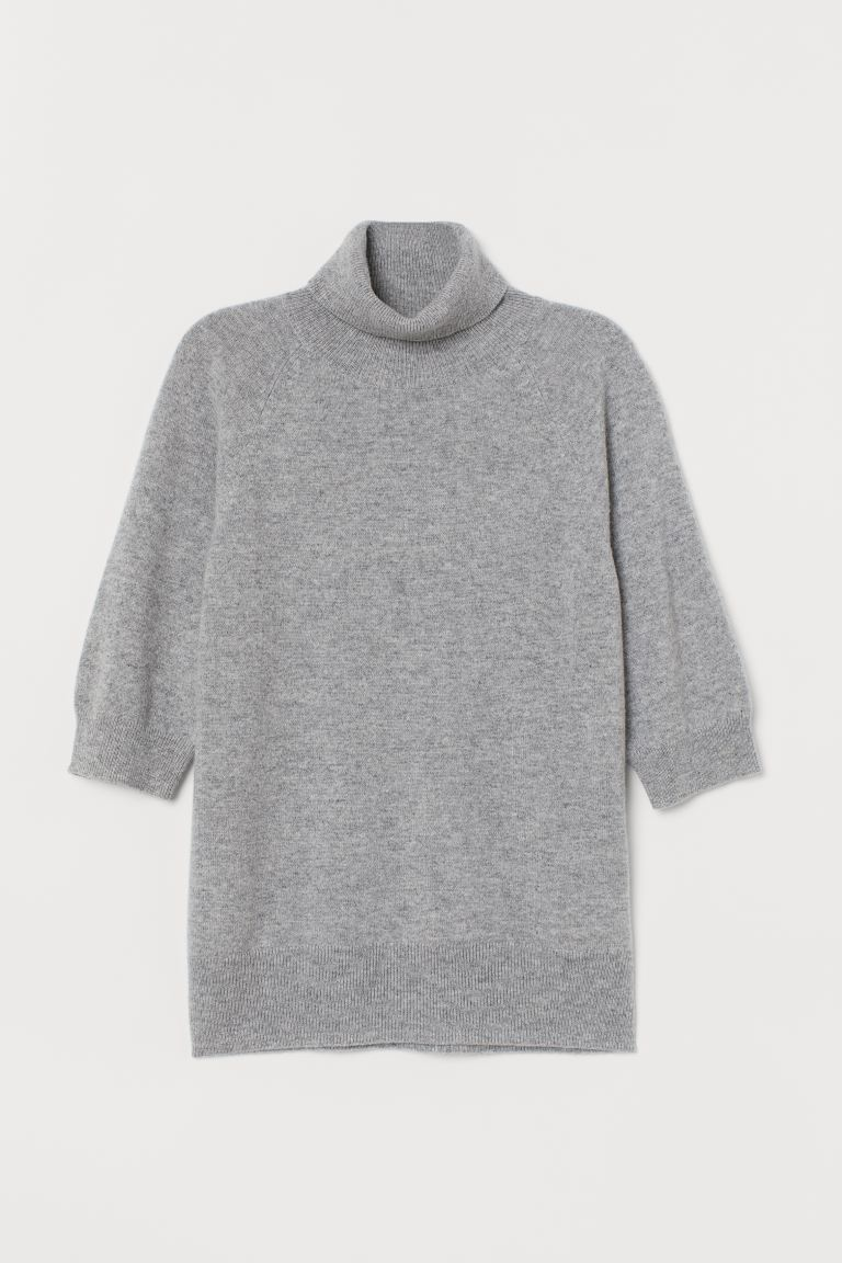Cashmere polo-neck jumper - Grey marl - Ladies | H&M GB