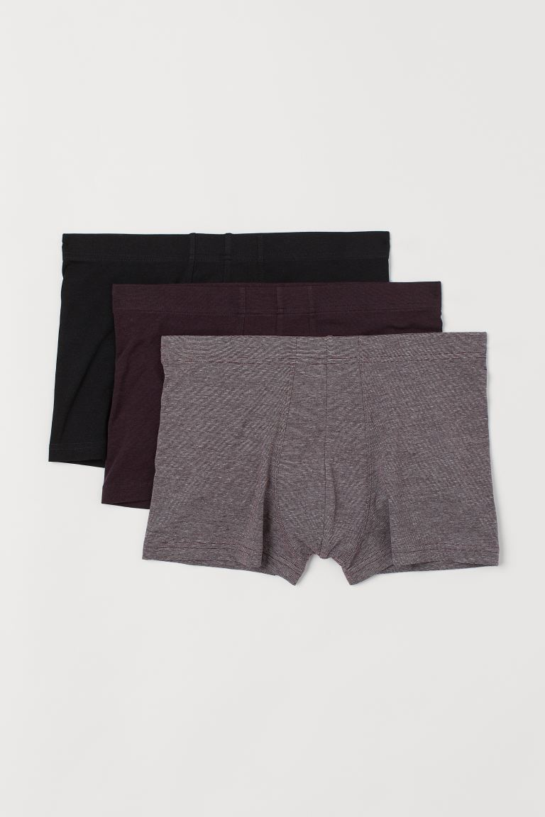3-pack short trunks - Dark red marl - Men | H&M