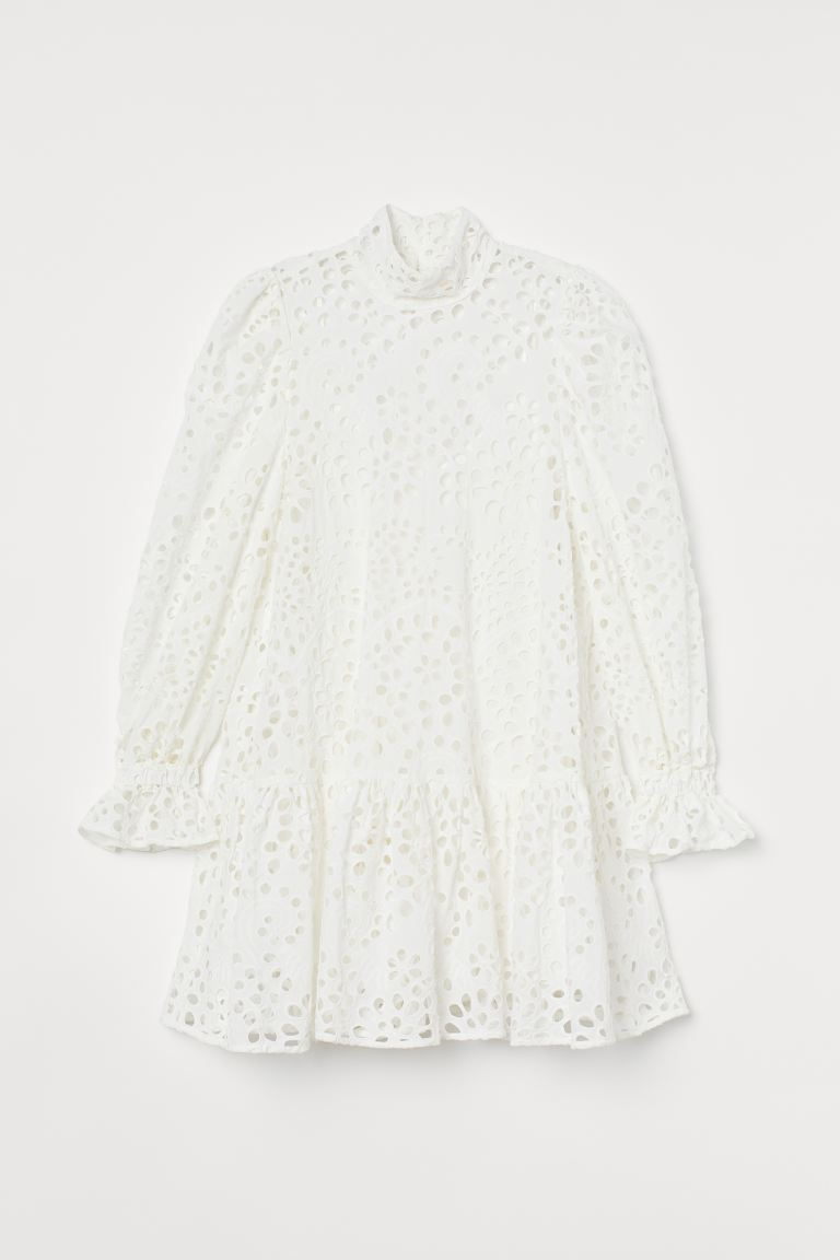 Broderie anglaise dress - White - Ladies | H&M GB