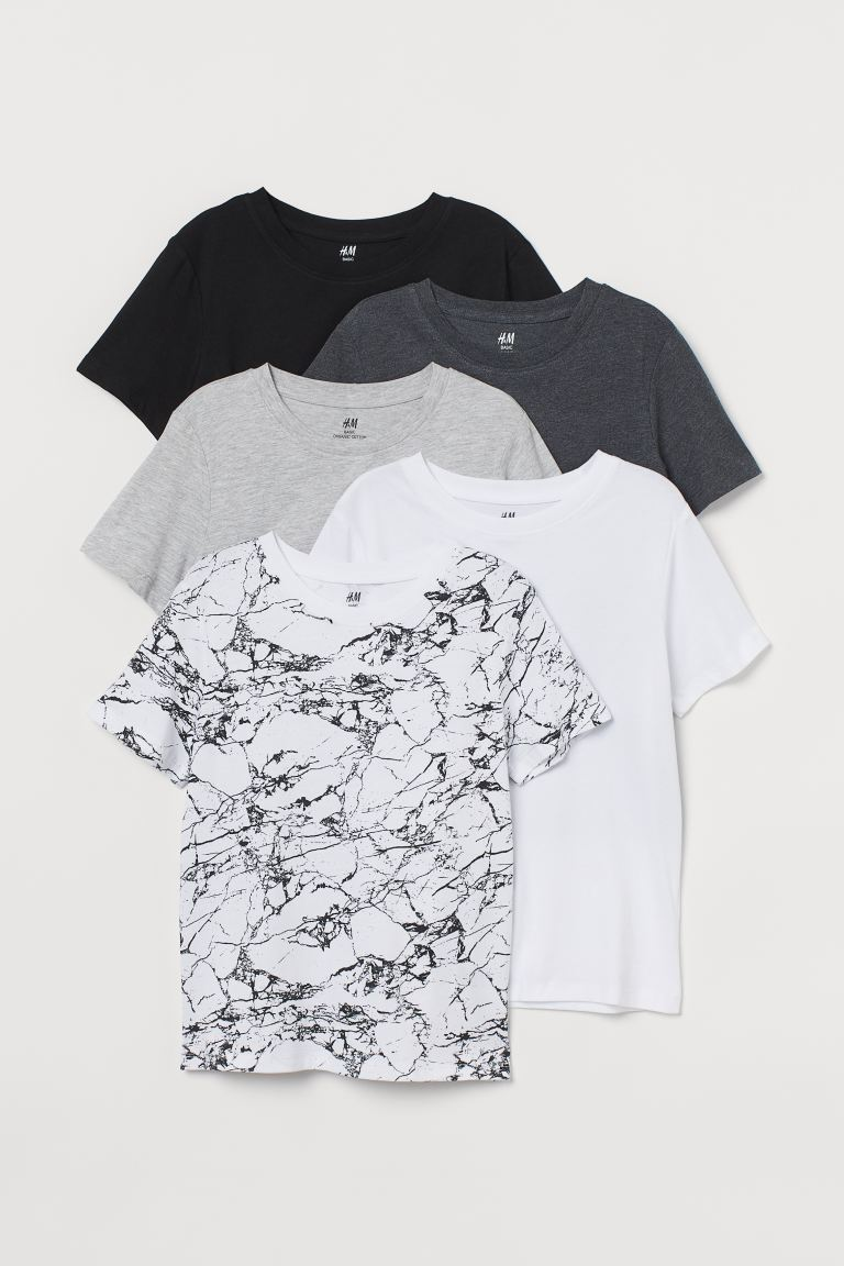 5-pack T-shirts - Black/Marble-patterned - Kids | H&M IE