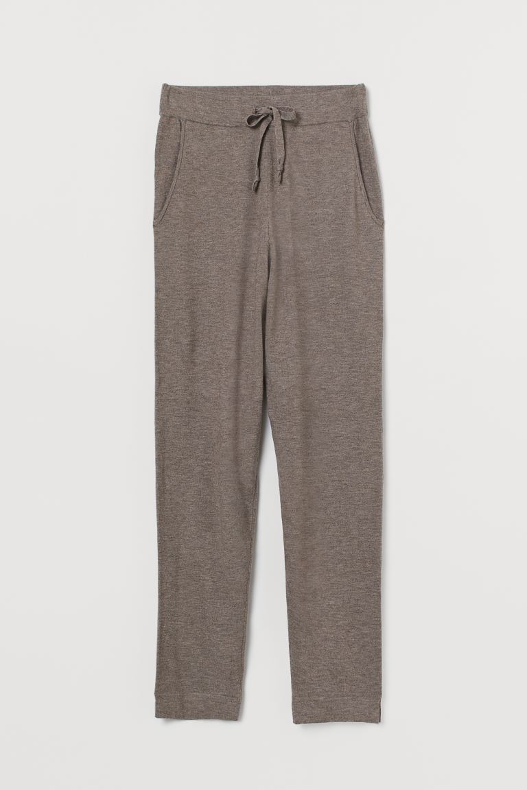 Fine-knit joggers - Greige marl - Ladies | H&M GB