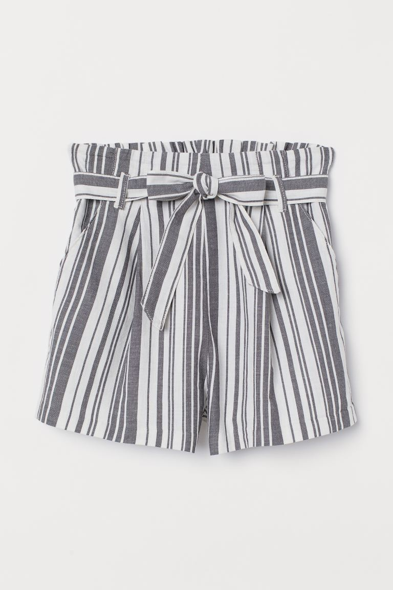 Paper bag shorts - Dark grey/White striped - Ladies | H&M IN