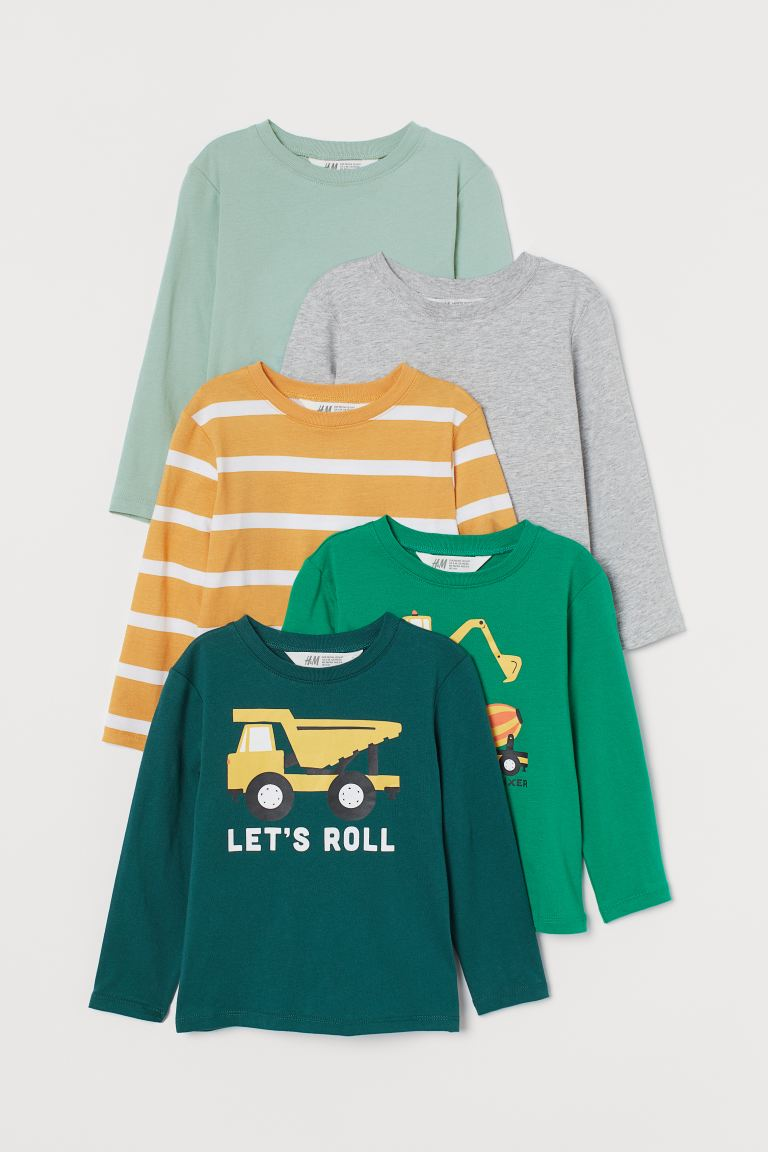 5-pack jersey tops - Dark turquoise/Vehicles - Kids | H&M