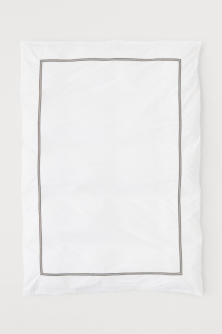 Cotton Percale Duvet Cover - White/black - Home All | H&M US
