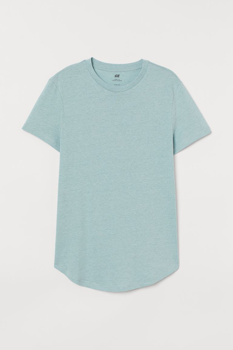 T-shirt Long Fit - Turquoise clair chiné - HOMME | H&M FR