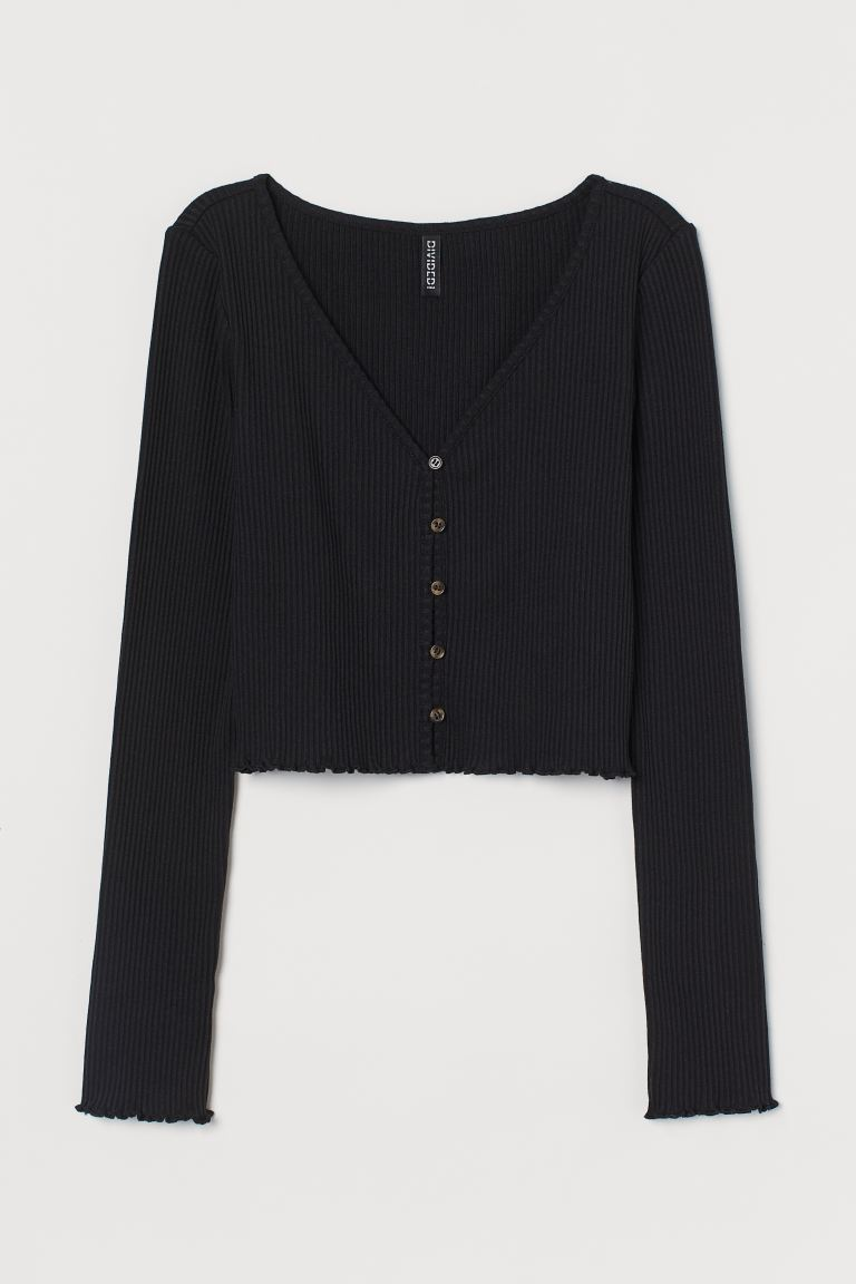 Cardigan in jersey a costine - Nero - DONNA | H&M IT