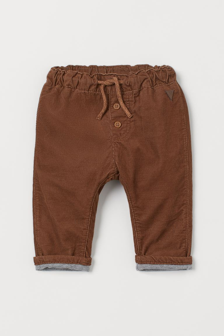 Fully lined corduroy trousers - Brown - Kids | H&M IN