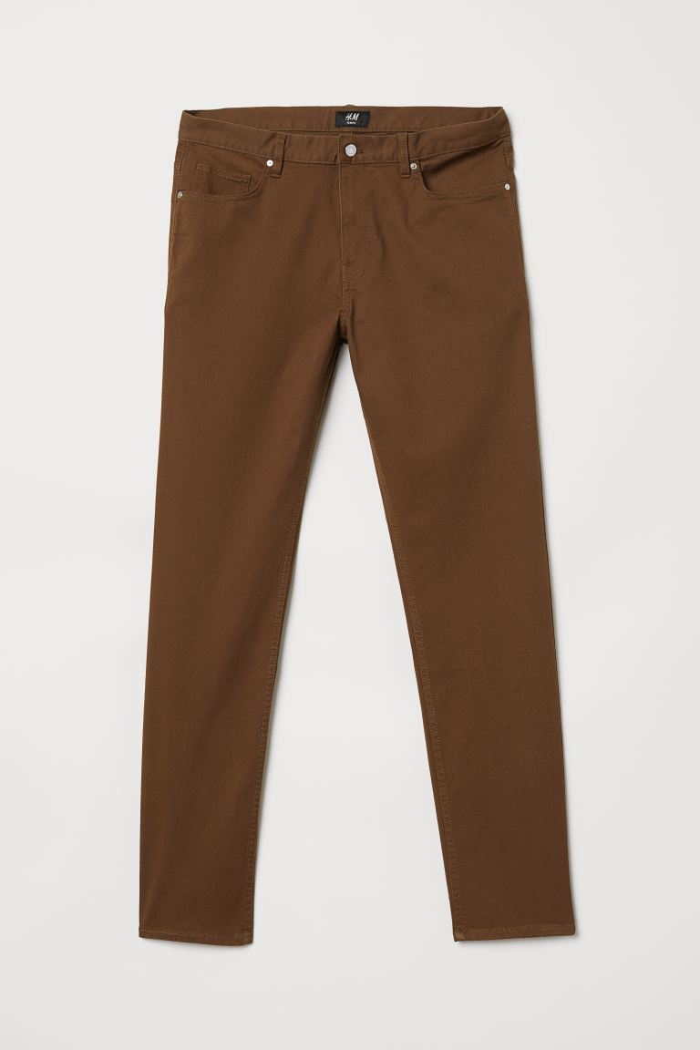 Spodnie z diagonalu Slim fit - Camel - ON | H&M PL