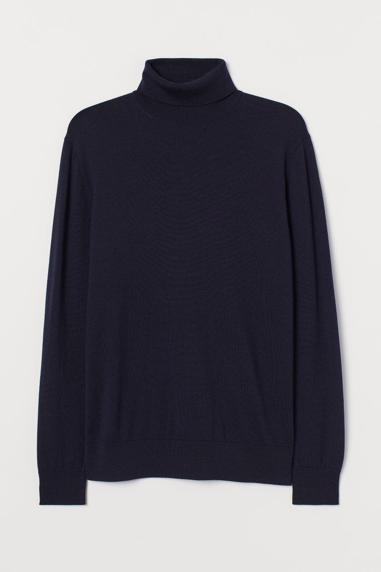 Merino wool polo-neck jumper - Navy blue - Men | H&M