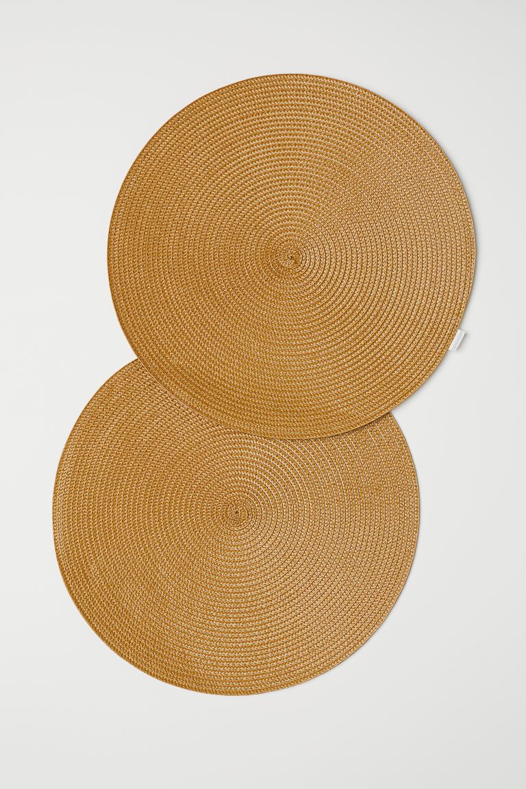 2-pack Round Placemats - Yellow - Home All | H&M US