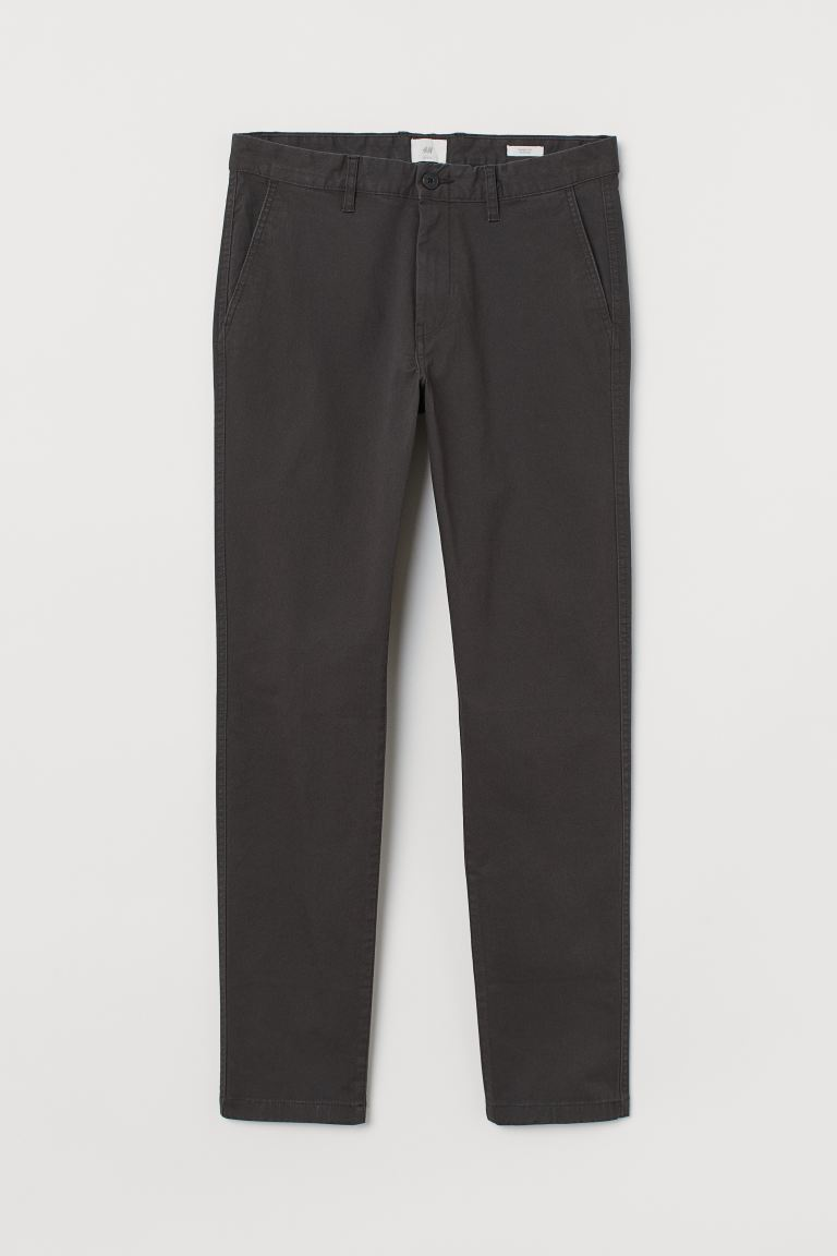 Cotton chinos Skinny Fit - Dark grey - Men | H&M