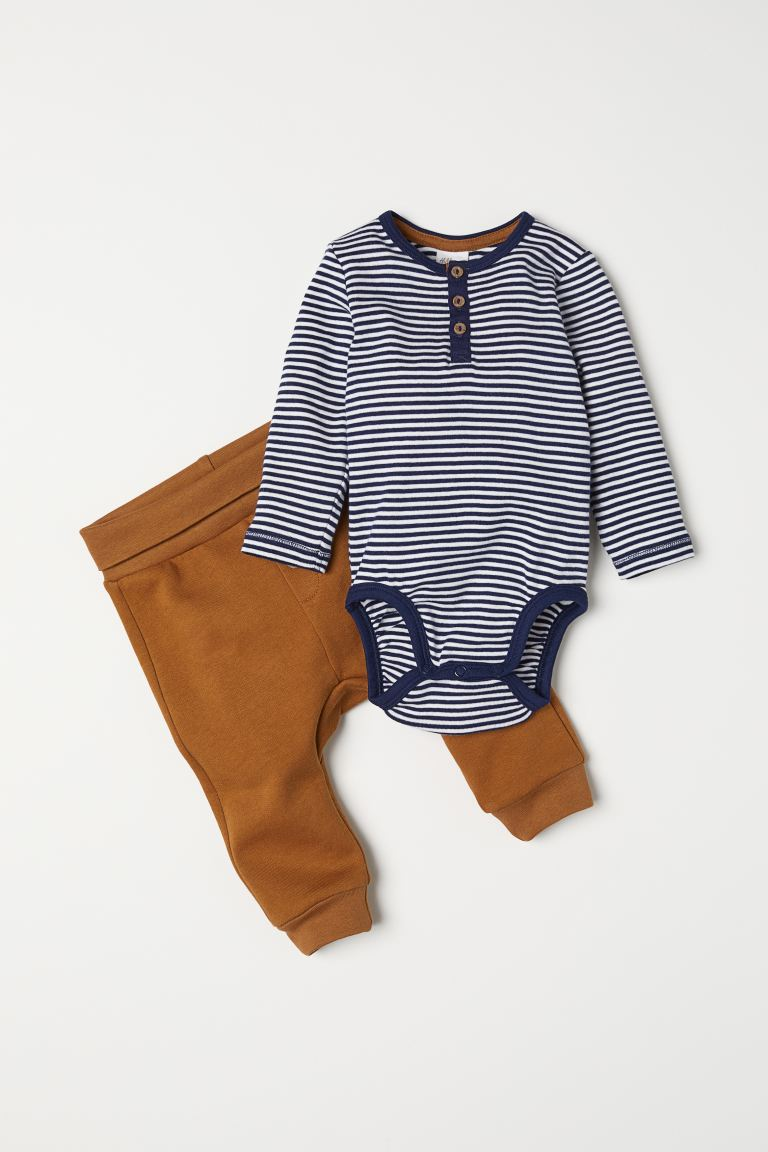 Bodysuit and Pants - Brown/striped - Kids | H&M US