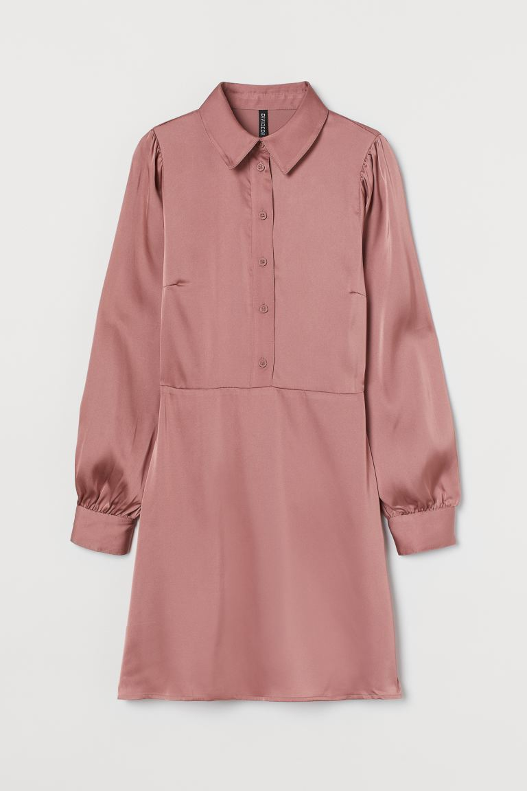 Puff-sleeved Shirt Dress - Dusty rose - Ladies | H&M US 4