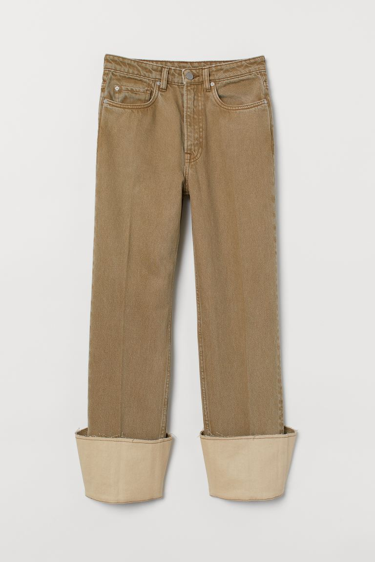 Straight Regular Jeans - Olive green/Washed out - Ladies | H&M GB