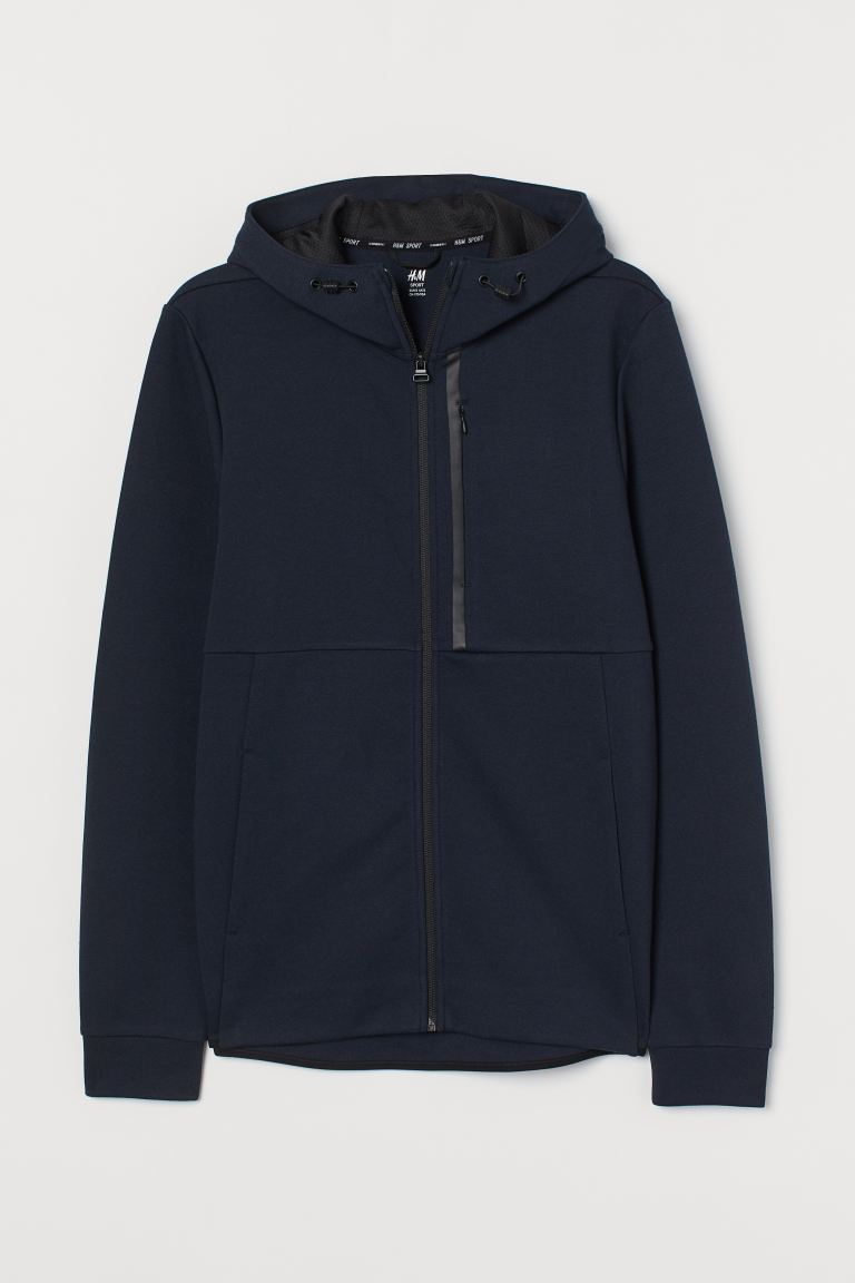 Sporty hooded jacket - Navy blue - Men | H&M IN