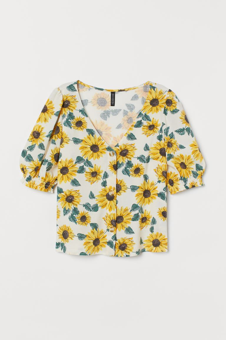 Puff Sleeve Blouse - Natural white/Sunflowers - Ladies | H&M AU