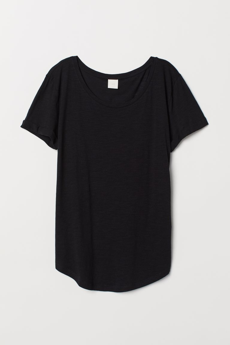 Round-neck T-shirt - Black - Ladies | H&M US