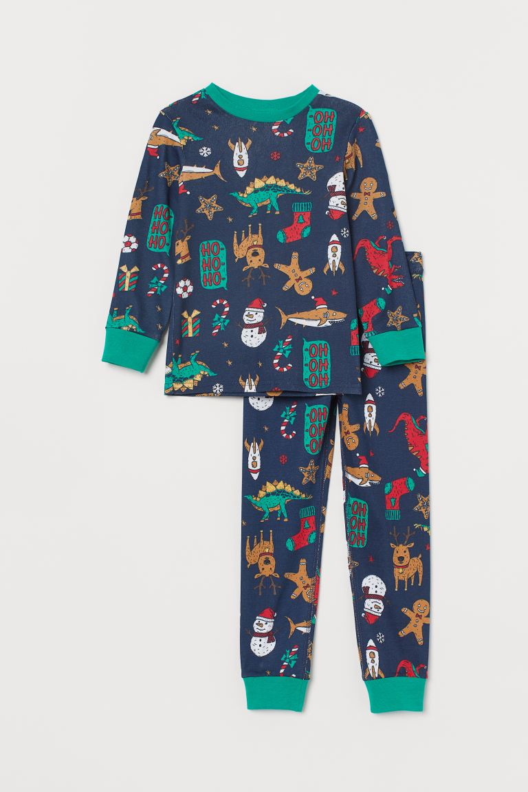 Jersey pyjamas - Navy blue/Christmas motif - Kids | H&M