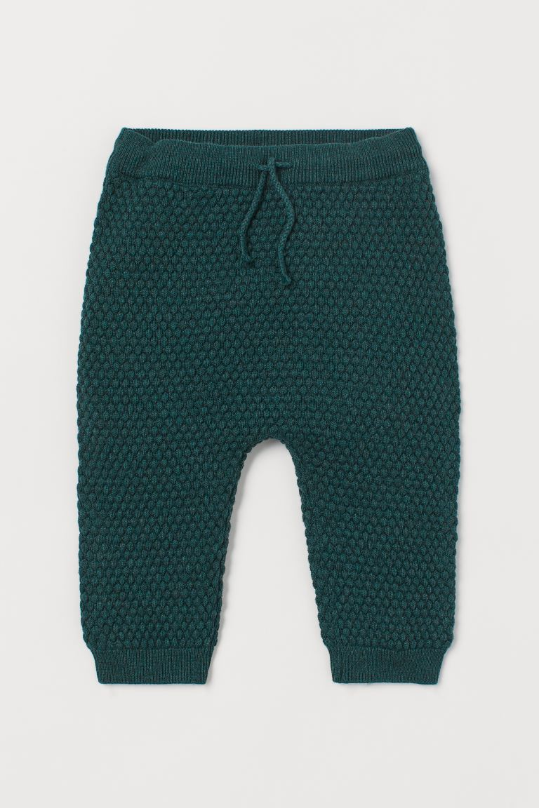 Textured-knit Pants - Dark green - Kids | H&M US