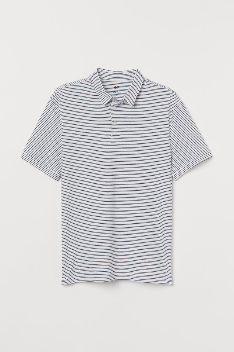 Polo shirt Slim Fit - White/Black striped - Men | H&M IN