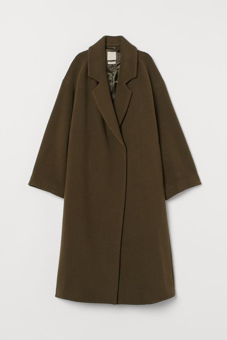 Knielanger Mantel aus Wollmix