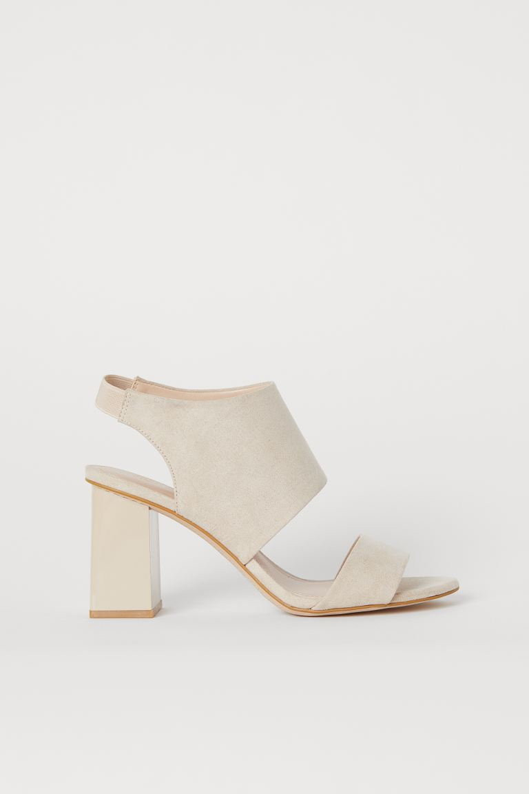 Block-heeled Sandals - Light beige - Ladies | H&M US