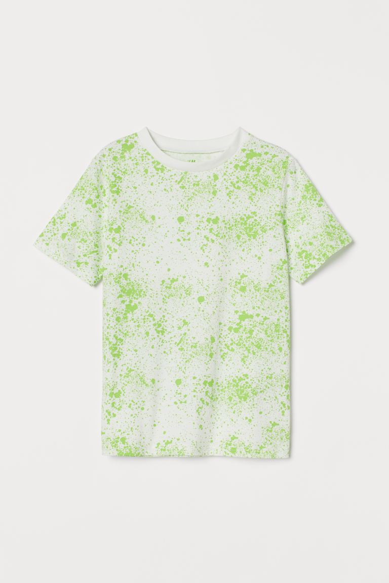 T-shirt - Green/Splatter print - Kids | H&M GB