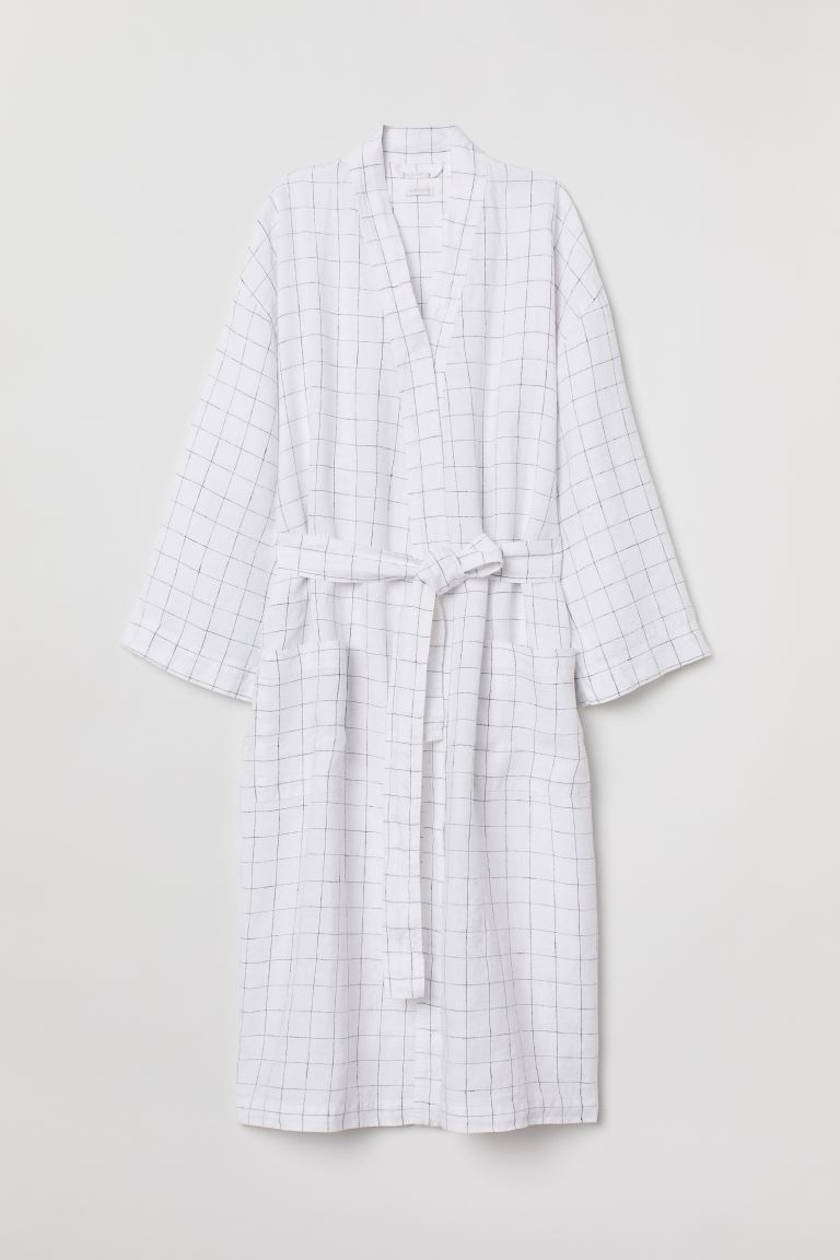 Washed linen dressing gown - White/Checked - Home All | H&M IE