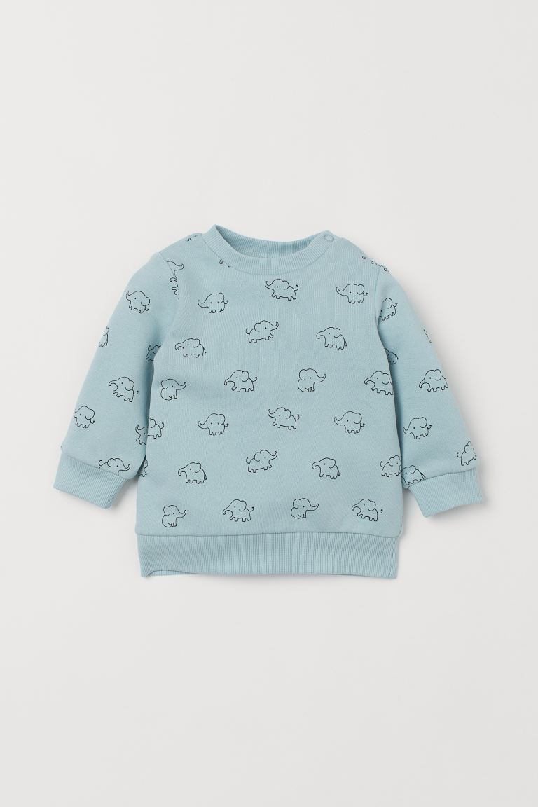 Cotton sweatshirt - Turquoise/Elephants - Kids | H&M