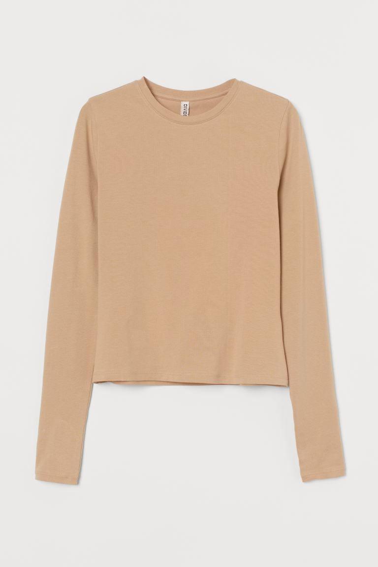 Long-sleeved top - Beige - Ladies | H&M