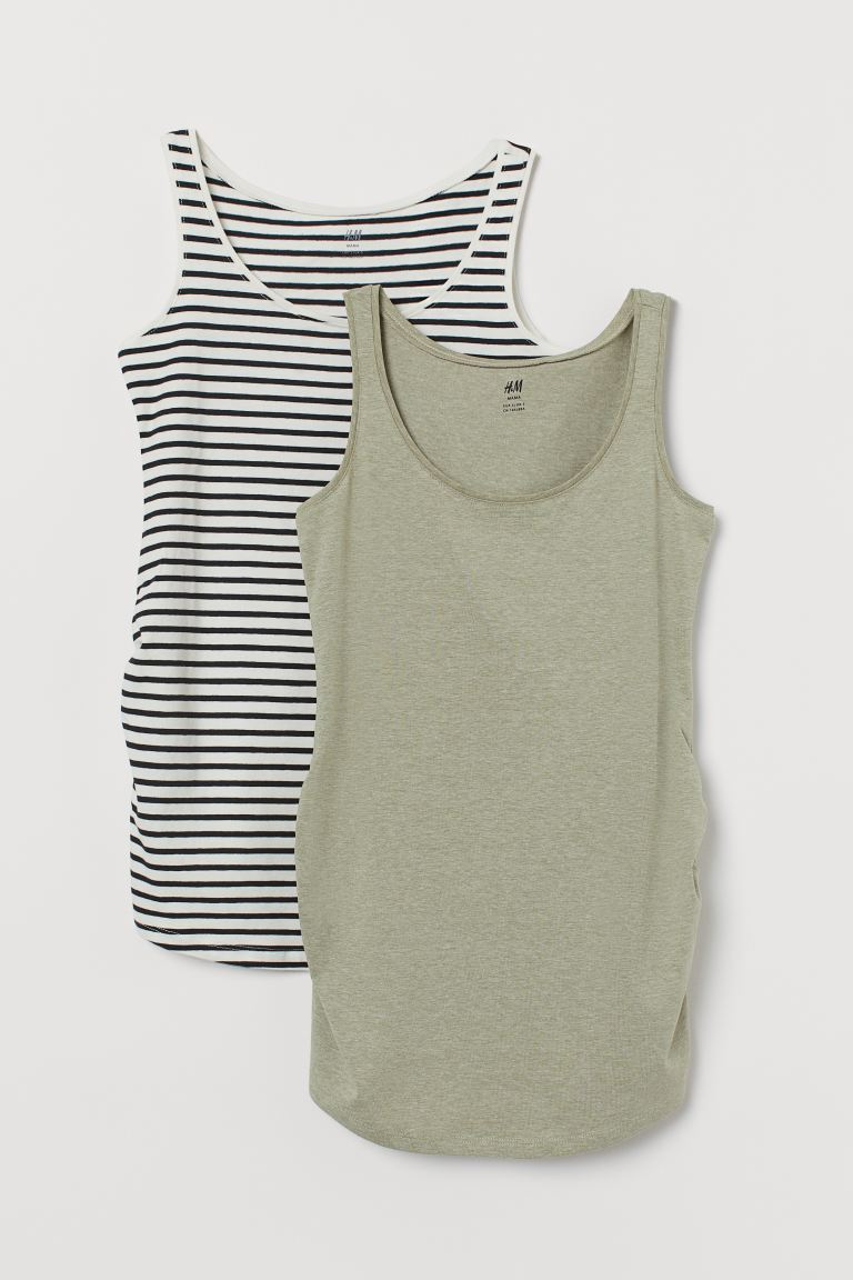 MAMA 2-pack Jersey Tank Tops - Natural white/striped - Ladies | H&M CA