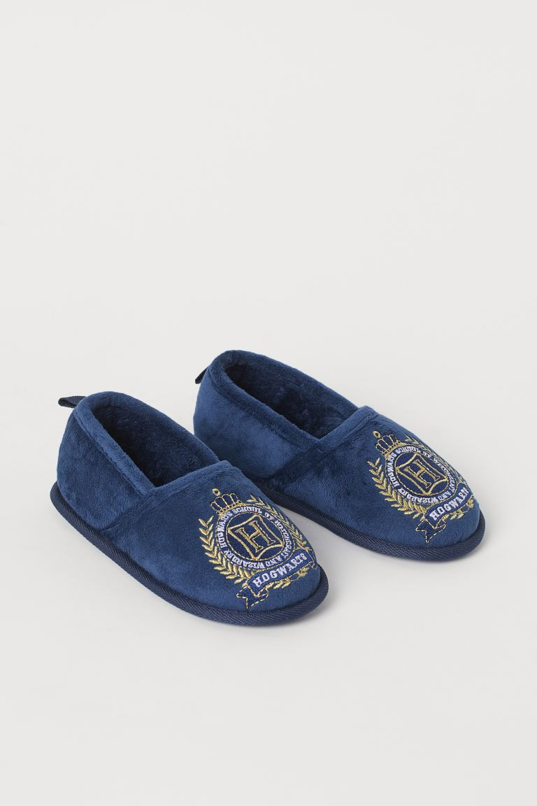 Soft embroidered slippers - Navy blue/Hogwarts - Kids | H&M GB