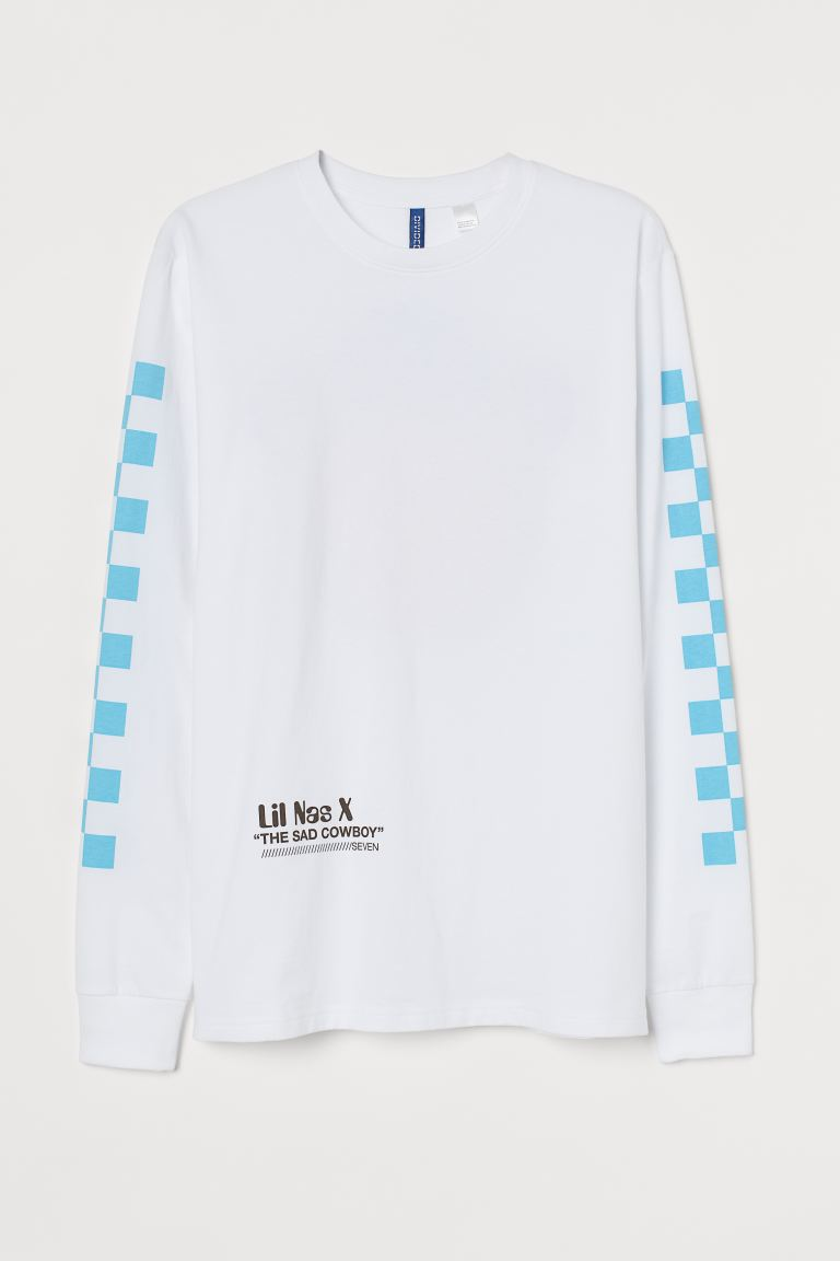 Printed Jersey Shirt - White/Lil Nas X - Men | H&M CA