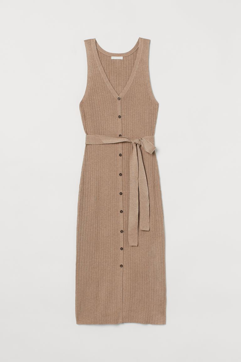 Ribbed Dress - Beige - Ladies | H&M US